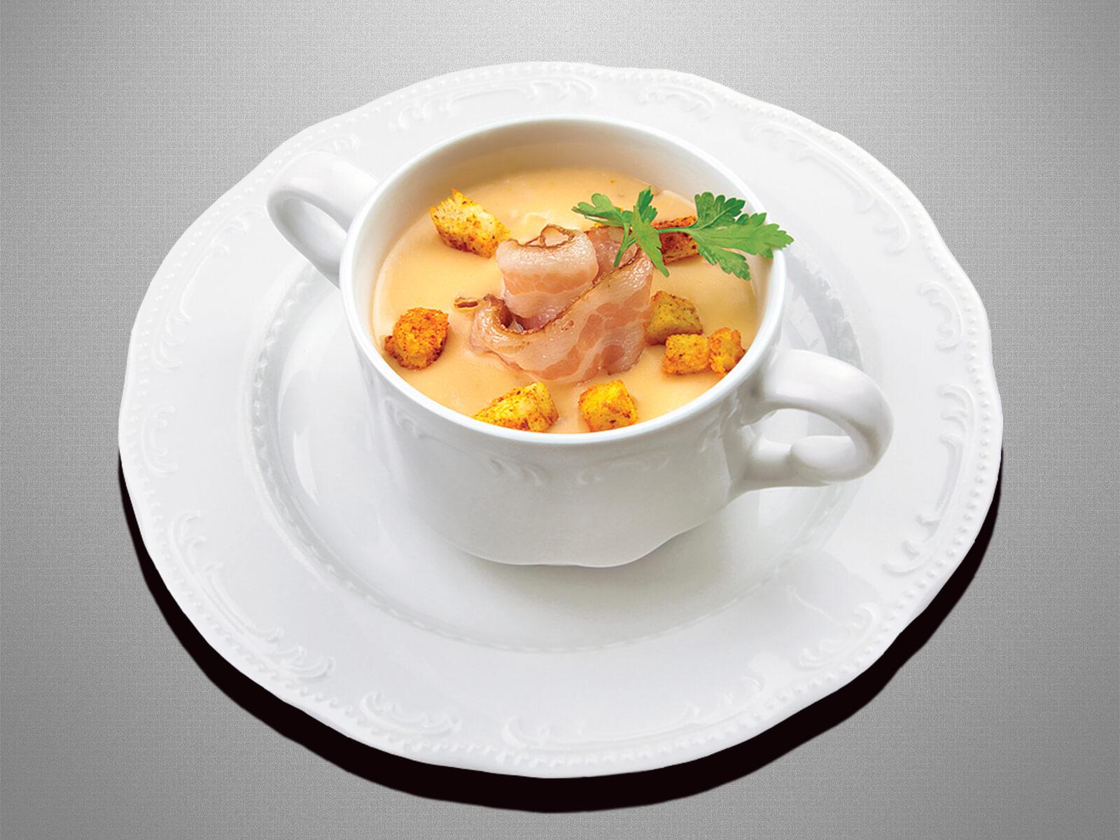 Грибной суп с беконом