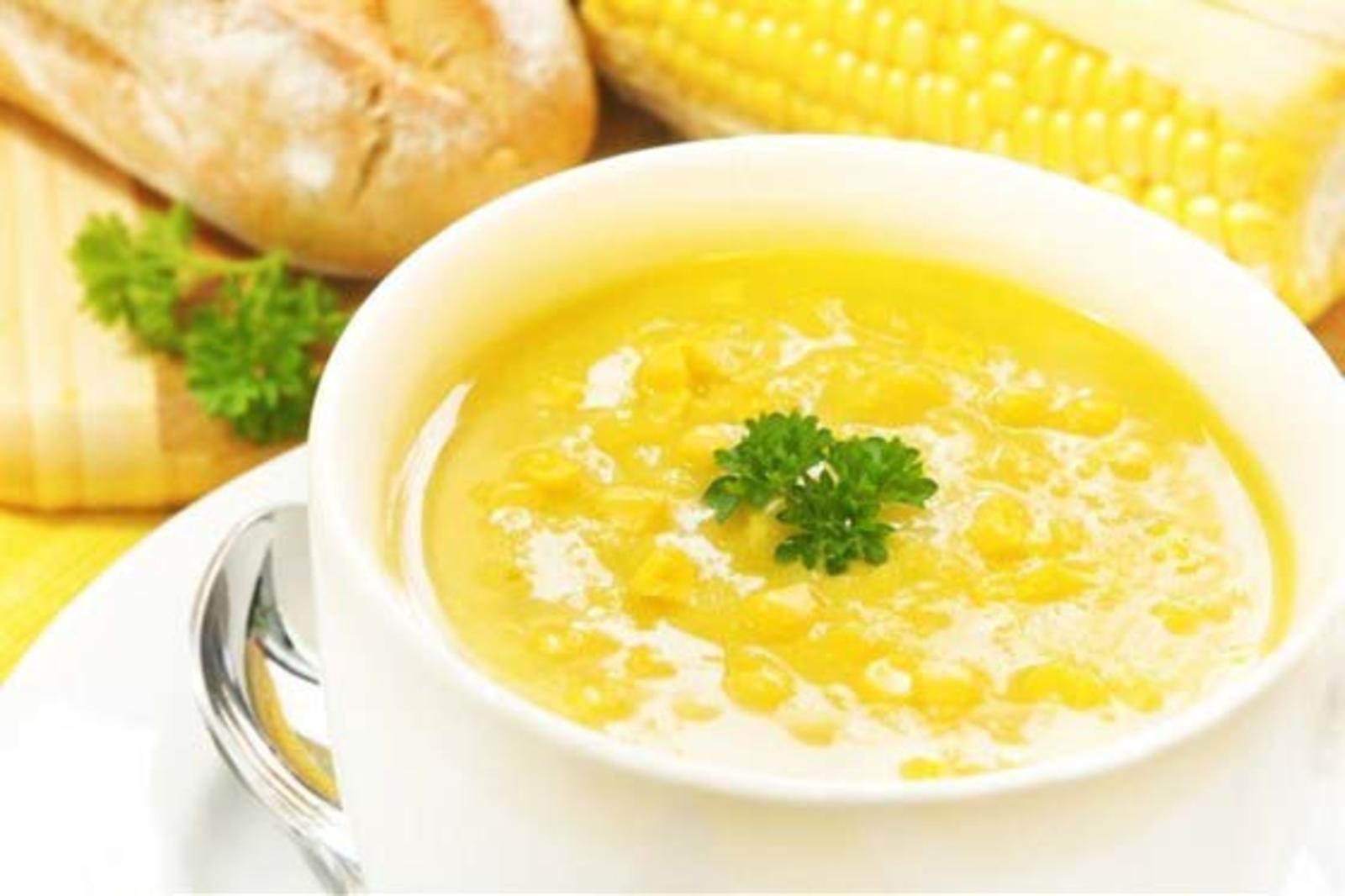 Овощной суп с кукурузой и сыром