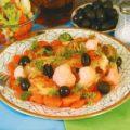 Филе сома, запеченное с брокколи и морковью