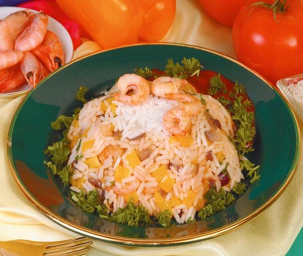 Креветки с рисом и болгарским перцем