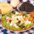 Салат из вареного сома, ананасов и чернослива