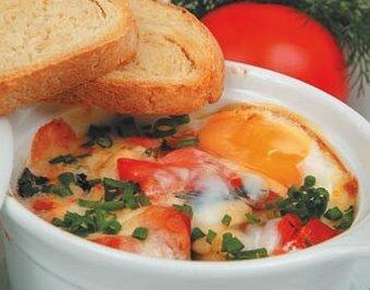 Яйца с сыром моцарелла