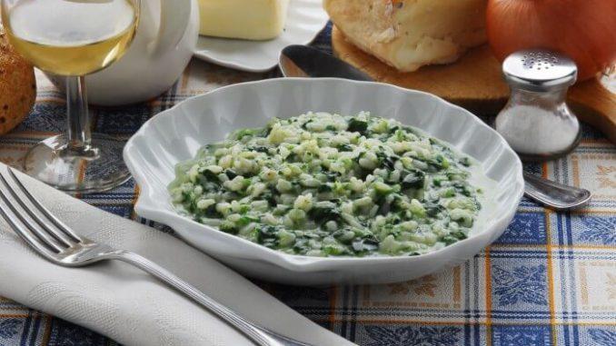 Дикий рис со шпинатом